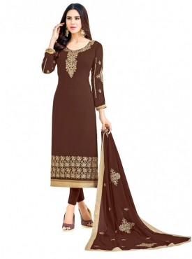 Viva N Diva Brown Colored Georgette Salwar Suit