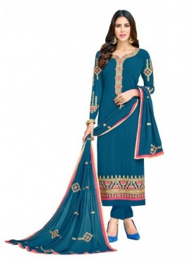 Viva N Diva Teal Blue Colored Georgette Salwar Suit