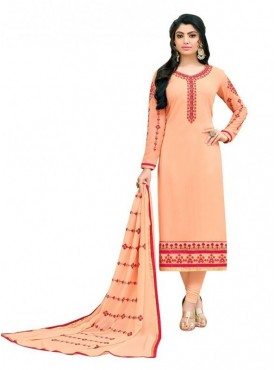 Viva N Diva Light Orange Colored Georgette Salwar Suit
