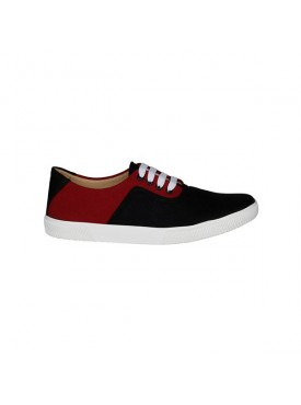 BACHINI Black Maroon Sole PVC Upper Material Synthatic Laceup For MENS Shoes