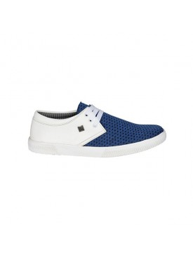 BACHINI White Blue Sole PVC Upper Material Synthatic Laceup For MENS Shoes