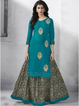 Roykals Textile Blue Color Cotton Embroidered Kurti With Skirt