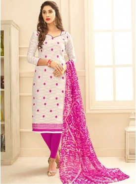 Roykals Textile White Color Jacquard Cotton Embroidered Straight-cut Suits