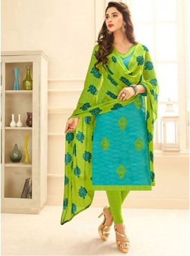 Roykals Textile Sky Blue Color Jacquard Cotton Embroidered Straight-cut Suits