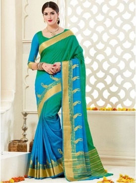 Roykals Textile Green Color Silk Fabric Traditional Wear Saree