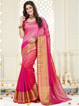 Roykals Textile Pink Color Silk Fabric Traditional Wear Saree