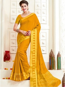 Roykals Textile Yellow Color Silk Fabric Traditional Wear Saree