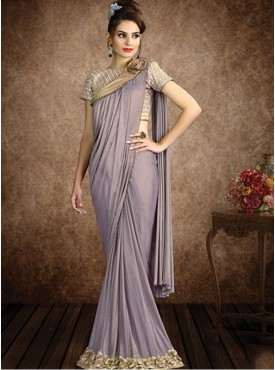 Mahotsav Group Lavender Color Fancy Knit Designer Saree