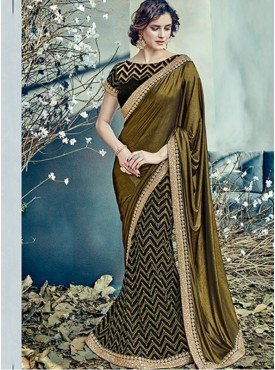 Mahotsav Group Black Color Fancy net Designer Saree