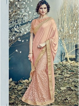 Mahotsav Group Peach Color Fancy net Designer Saree