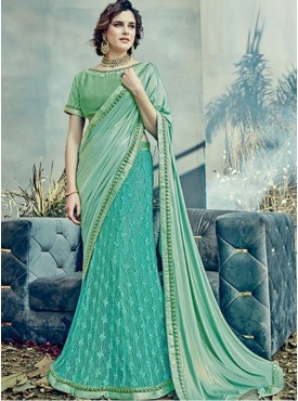 Mahotsav Group Green Color Fancy net Designer Saree