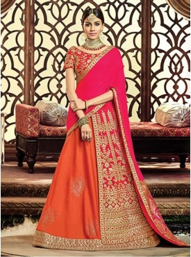 Mahotsav Group Orange Color Taffeta Silk Designer Lehenga Saree