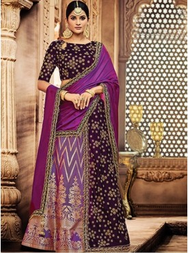 Mahotsav Group Purple Color Jacquard Silk Designer Lehenga Saree