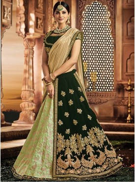 Mahotsav Group Green Color Jacquard Silk Designer Lehenga Saree