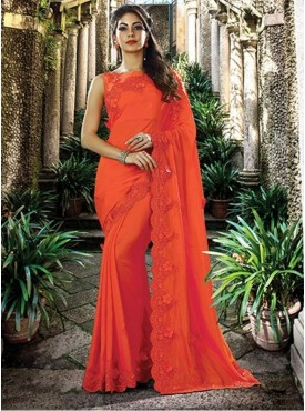 Mahotsav Group Orange Color Silk Designer Saree