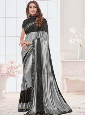 Mahotsav Group Light Grey Color Lycra Designer Saree