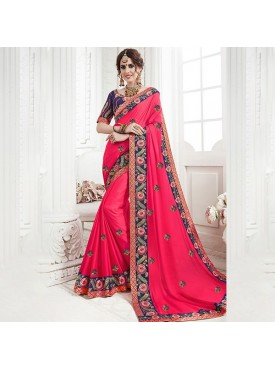 Roykals Textile Pink Color Banglori Silk Bridal Heavy Embroidered Saree