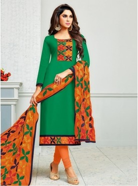 Roykals Textile Green Color Cambric Cotton Kalamkari Work Salwar suits