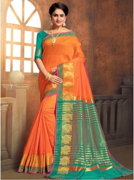 Roykals Textile Orange Color Cotton Silk Traditional Saree