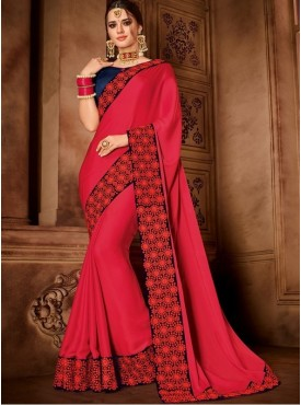 Roykals Textile Red Color sateen silk Heavy Work Embroidered Saree