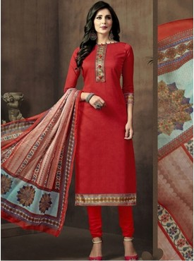 Roykals Textile Red Color Casual Wear Cotton suits