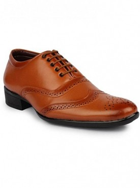 T-Rock Men's Tan Synthetic Brogue Formal Shoes