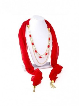 Roykals Textile Gold Plated Red Scarf Fabric Chiffon Artificial Jewellery