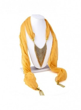 Roykals Textile Gold Plated Light Brown Scarf Fabric Chiffon Artificial Jewellery