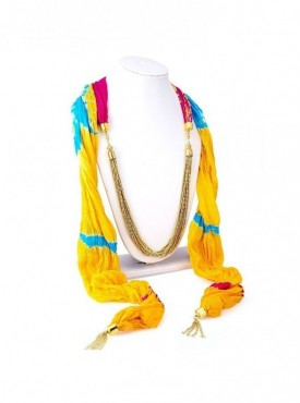 Roykals Textile Gold Plated Golden Scarf Fabric Silk Artificial Jewellery