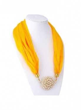 Roykals Textile Gold Plated Yellow Scarf Fabric Chiffon Artificial Jewellery