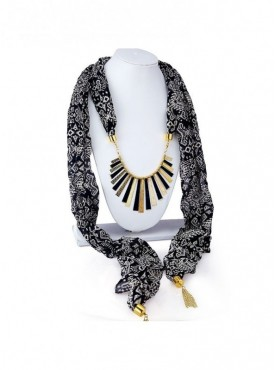 Roykals Textile Gold Plated Black Scarf Fabric Chiffon Artificial Jewellery