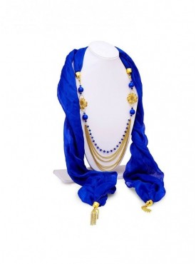 Roykals Textile Gold Plated Blue Scarf Fabric Chiffon Artificial Jewellery