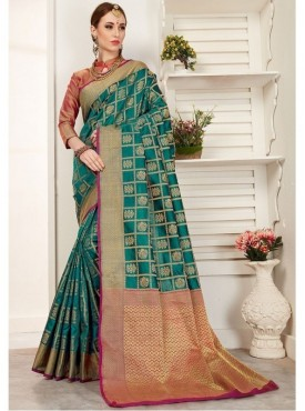 YNF Jacquard Crystal Silk Turquoise Green Gadwal Saree With Blouse