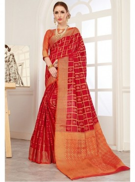 YNF Women's Jacquard Crystal Silk Red Gadwal Saree With Blouse