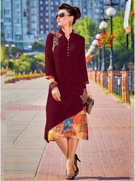 Roykals Textile Maroon Color Georgette Printed Exclusive Readymade Tunic