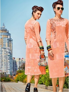 Roykals Textile Peach Color Georgette Printed Exclusive Readymade Tunic