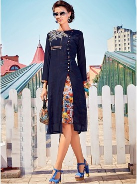 Roykals Textile Blue Color Georgette Printed Exclusive Readymade Tunic