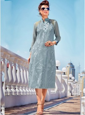 Roykals Textile Grey Colored Georgette Printed Exclusive Readymade Tunic