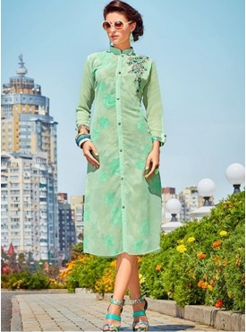 Roykals Textile Light Green Color Georgette Printed Exclusive Readymade Tunic
