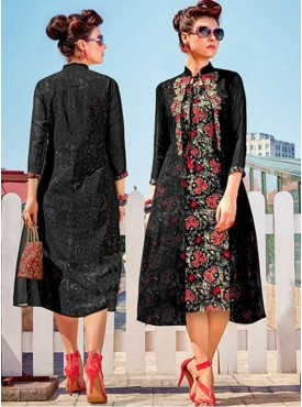 Roykals Textile Black Color Georgette Printed Exclusive Readymade Tunic