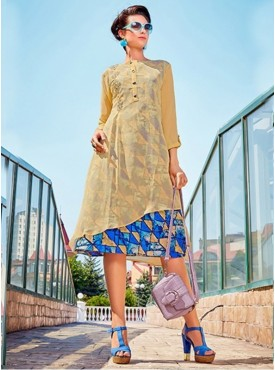 Roykals Textile Beige Color Georgette Printed Exclusive Readymade Tunic