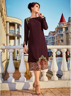 Roykals Textile Brown Color Georgette Printed Exclusive Readymade Tunic
