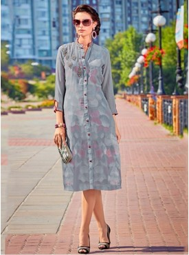 Roykals Textile Grey Color Georgette Printed Exclusive Readymade Tunic
