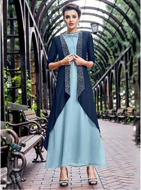 Roykals Textile Sky Blue Color Georgette Emvboidered Exclusive Readymade Long-Kurti