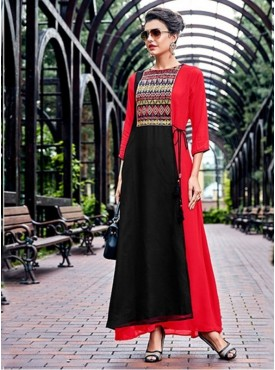 Roykals Textile Red Color Georgette Emvboidered Exclusive Readymade Long-Kurti