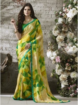Triveni Chiffon Beige Casual wear Printed Contemporary Sarees