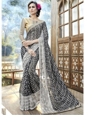 Triveni Faux Georgette Black Casual wear Printed Traditional Sarees