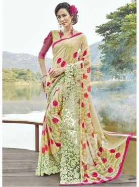 Triveni Faux Georgette Beige Casual wear Printed Traditional Sarees