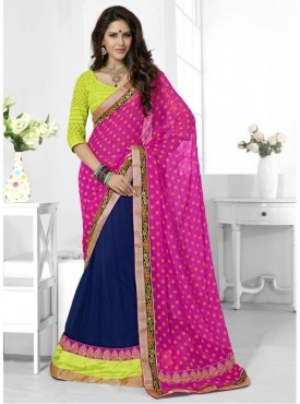 Triveni Chiffon Blue Wedding Border Worked Half n Half Sarees