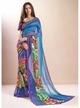 Triveni Faux Georgette Multi Color Casual wear Printed Floral Sarees